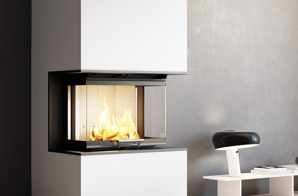 Scan 5004-S peis med glass på tre sider og hvit peisomramming